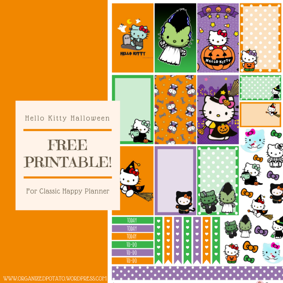 Hello Kitty Halloween Free Printable for Classic Happy Planner #printable #plannerprintable #freeprintable #printables #hellokitty #halloween #kawaii #cute #frankenstein #pumpkin #pumpkins #witch #witches #ghost #blackcat #skeleton #happyplanner #erincondren #bujo #bulletjournal #organizedpotato