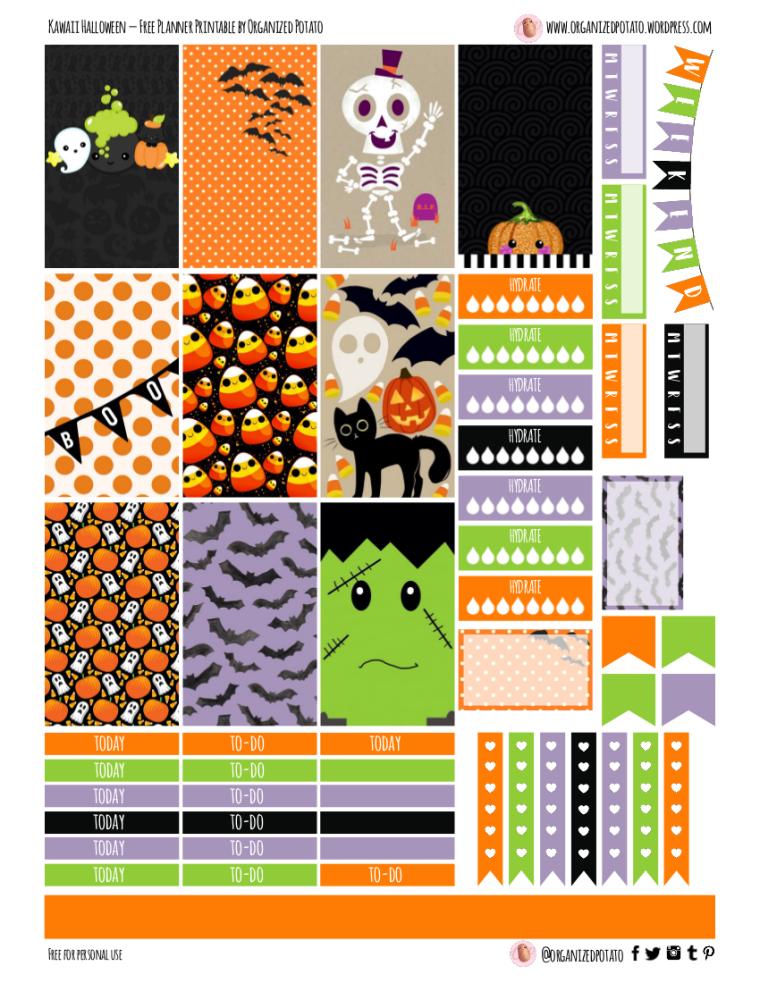 Kawaii Halloween - Free Printable for HPC #kawaii #halloween #skeleton #ghost #ghosts #frankenstein #bats #pumpkins #candycorn #boo #blackcat #jackolantern #spooky #ghosts #plannerprintable #printable #freeprintable #freeplannerprintable #plannerideas #plannerinspo #happyplanner #erincondren #bujo #bujoideas #bujoinspo #websterspages #filofax #organizedpotato