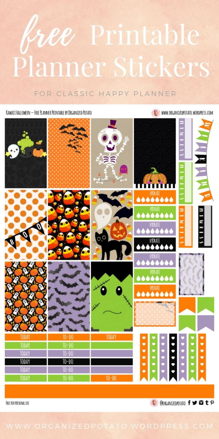 Kawaii Halloween - Free Printable Planner Stickers for Classic Happy Planner by Organized Potato - For use in Happy Planner, Erin Condren, Bullet Journal, scrapbooking, and other paper crafts. Great free DIY stationery craft! These super cute stickers are ready for your planner! Bring the beautiful fall colors to your planner with these adorable free stickers. Get spooky with cute pictures of ghosts, skeletons, pumpkins, bats, and frankenstein! #bujo #bulletjournal #kawaii #leaves #halloween #autumn #pumpkins #DIYcrafts #spooky