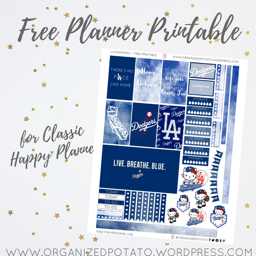image relating to Dodgers Printable Schedule named Free of charge Planner Printable: LA Dodgers Well prepared Potato