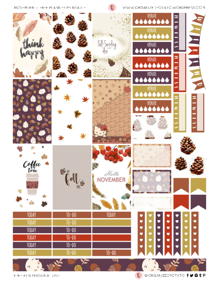 November Free Printable for Classic Happy Planner #planner #happyplanner #printable #freeprintable #freeplannerprintable #plannerprintable #november #fall #molang #hellokitty #pinecones #leaves #coffee #travelersnotebook #bujo #bulletjournal #plannerideas #plannerinspo #plannerstickers #DIYstickers #stickers #DIY #organizedpotato