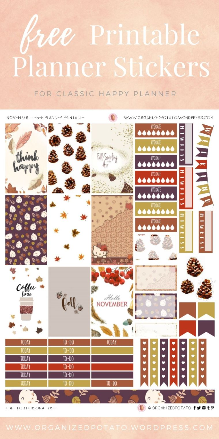 November - Free Printable Planner Stickers for Classic Happy Planner by Organized Potato - For use in Happy Planner, Erin Condren, Bullet Journal, scrapbooking, and other paper crafts. Great free DIY stationery craft! These super cute stickers are ready for your planner! Bring the beautiful fall colors to your planner with these adorable free stickers. Perfect for your next DIY stationery project! #bujo #bulletjournal #cute #leaves #halloween #hellokitty #molang #autumn #pumpkins #DIYcrafts #thanksgiving