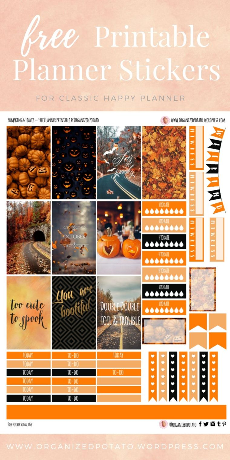 Pumpkins and Leaves - Free Printable Planner Stickers for Classic Happy Planner by Organized Potato - For use in Happy Planner, Erin Condren, Bullet Journal, scrapbooking, and other paper crafts. Great free DIY stationery craft! These super cute stickers are ready for your planner! Bring the beautiful fall colors to your planner with these adorable free stickers. #bujo #bulletjournal #cute #leaves #halloween #autumn #pumpkins #DIYcrafts #thanksgiving