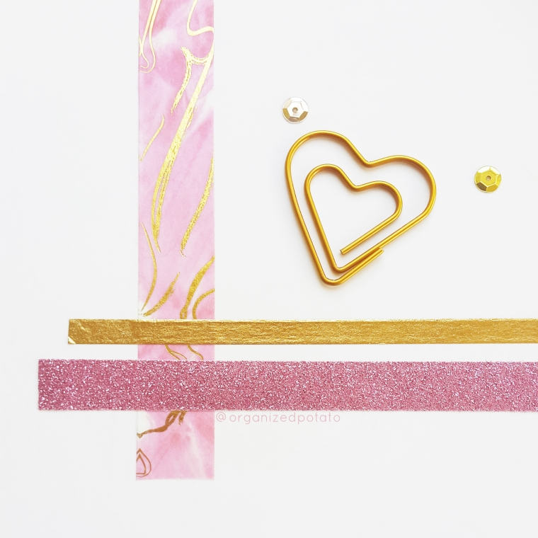 Happy Washi Wednesday! #washi #washitape #washitapeideas #washicrafts #washiDIY #pink #gold #pinkandgold #glitter #sparkle #sequins #goldfoil #watercolor #pastelpink #heart #hearts #paperclips #planner #plannerideas #plannerinspo #happyplanner #erincondren #travelersnotebook #TN #websterspages #filofax #kikkik #DIY #papercraft #organizedpotato