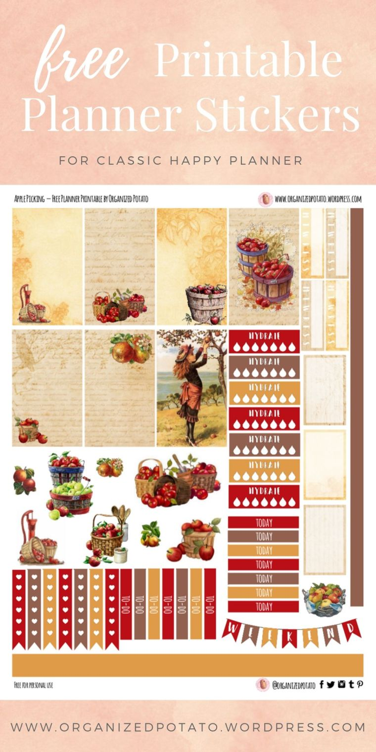 Apple Picking - Free Printable Planner Stickers for Classic Happy Planner by Organized Potato - For use in Happy Planner, Erin Condren, Bullet Journal, scrapbooking, and other paper crafts. Great free DIY stationery craft! These super cute stickers are ready for your planner! Bring the beautiful fall colors into your planner with these adorable free stickers. Includes bonus clip art deco stickers! #bujo #bulletjournal #cute #leaves #halloween #autumn #pumpkins #DIYcrafts #thanksgiving