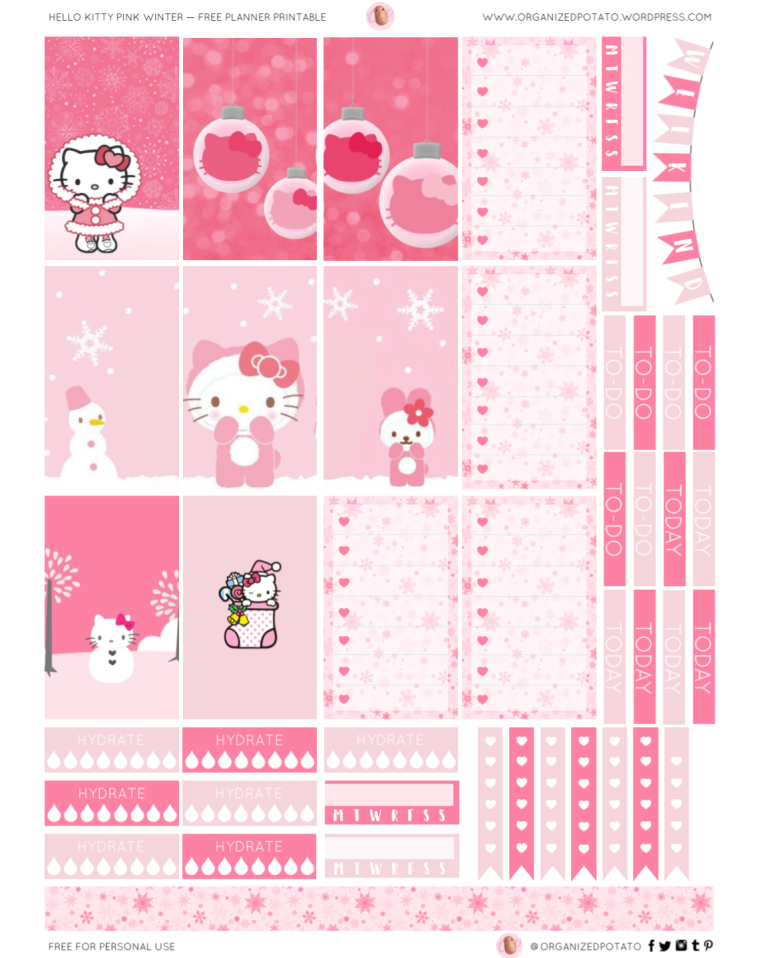 HK Pink Winter - Free Planner Printable for HPC