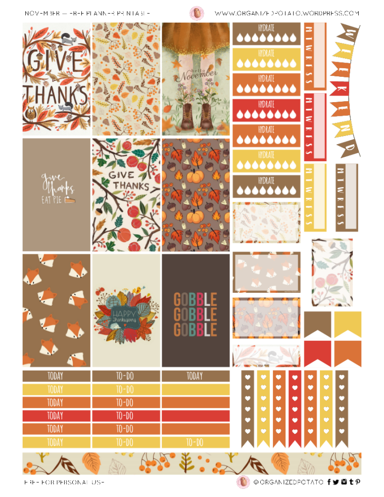 """""""Thanksgiving"""" - Free Printable for HPC #planner #happyplanner #printable #freeprintable #plannerprintable #printablestickers #DIYstickers #DIYplannerideas #plannerideas #plannerinspo #stickers #DIY #filofax #erincondren #travelersnotebook #bulletjournal #bujo #fall #autumn #thanksgiving #gobblegobble #foxes #givethanks #grateful #gratitude #happythanksgiving"""