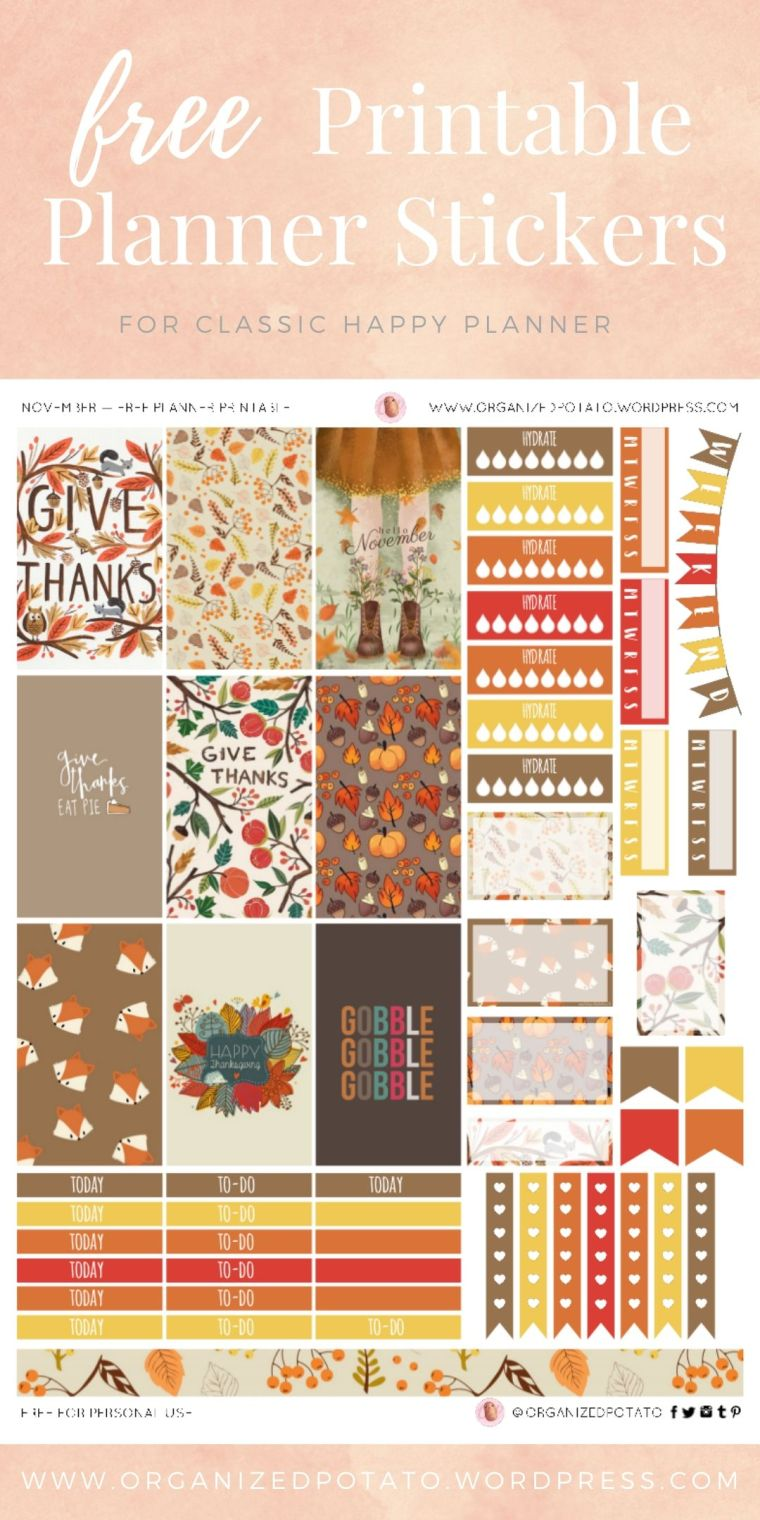 Thanksgiving - Free Printable Planner Stickers for Classic Happy Planner by Organized Potato - For use in Happy Planner, Erin Condren, Bullet Journal, scrapbooking, and other paper crafts. Great free DIY stationery craft! These super cute stickers are ready for your planner! Bring the beautiful fall colors to your planner with these adorable free stickers. Perfect for your next DIY stationery project! #bujo #bulletjournal #cute #leaves #halloween #hellokitty #molang #autumn #pumpkins #DIYcrafts #thanksgiving #gobblegobble