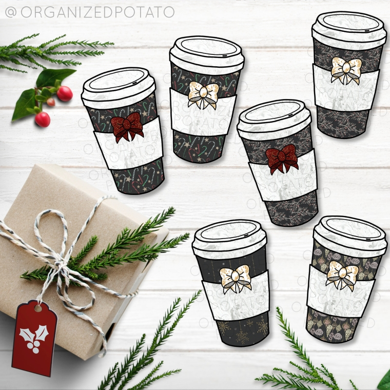 Black and Gold Glitter Coffee Cup Clip Art Bundle! This clip art is perfect for your holiday DIY projects! You can make fast and easy DIY wall art projects, DIY stickers, Christmas cards, gift tags, die cuts, digital paper, party invites, party decor, and more! What will you make?