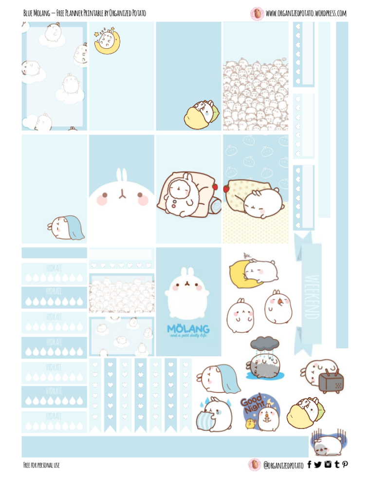 """Blue Molang"" - Free Planner Printable for Classic Happy Planner #planner #happyplanner #printable #freeprintable #plannerprintable #molang #kawaii #blue #pastelblue #sleepy #nap #naptime #sad #bunny #rabbit #organizedpotato #bulletjournal #bujo #DIY #DIYbujo #bujoideas #erincondren #filofax #websterspages #travelersnotebook"