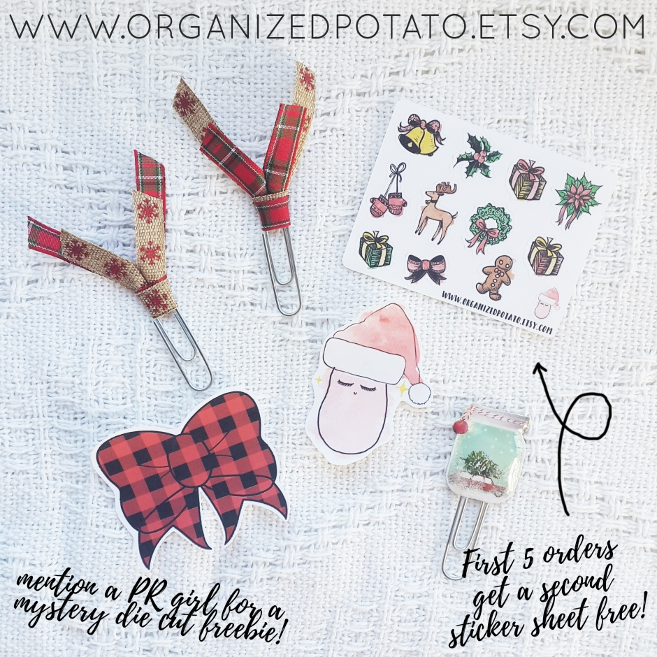 Holiday Bundle - Planner clips, die cuts, and stickers! www.organizedpotato.etsy.com