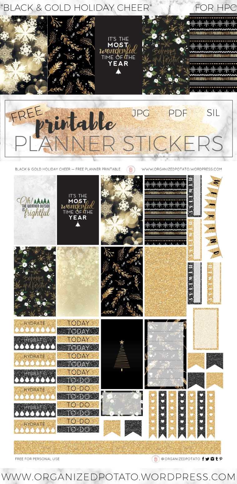 Black and Gold Holiday Cheer - Free DIY printable planner stickers for Classic Happy Planner. These festive holiday stickers have happy christmas quotes, and gorgeous glitter textures! It's perfect for Christmas, winter, and it's even glam enough for New Year's Eve! How will you use it in your planner?