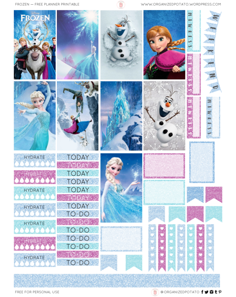 Frozen - For Happy Planner. Free Planner Printable by Organized Potato. #planner #printable #plannerprintable #frozen #disney #snow #winter #glitter #blue #purple #ana #elsa #olaf #sven #erincondren #freeprintable #freeplannerprintable #bujo #bulletjournal #travelersnotebook #eclp #DIY #DIYstickers