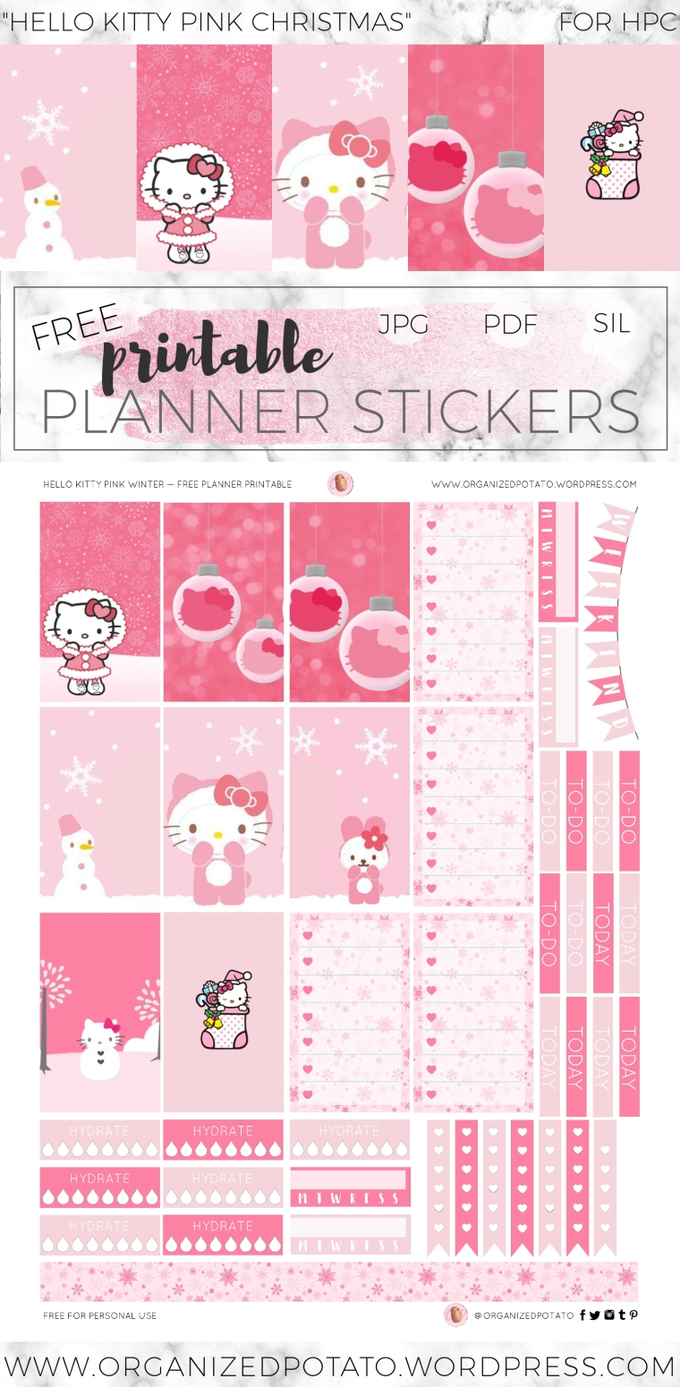 Hello Kitty Pink Christmas - Free DIY printable planner stickers for Classic Happy Planner. These festive holiday stickers are super kawaii! They feature the adorable Hello Kitty with a snowman, Christmas ornaments, and Christmas stockings. It's perfect for Christmas, or winter time in your bullet journal spread or in your planner! How will you use it in your planner?