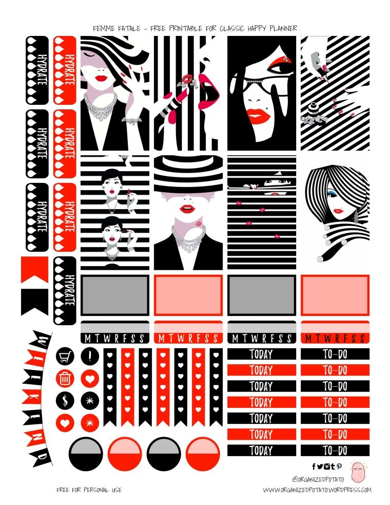 Femme Fatale - Free Printable for Classic Happy Planner #planner #printable #freeprintable #plannerprintable #plannergirl #happyplanner #erincondren #bujo #bulletjournal #TN #travelersnotebook #websterspages #kikkik #filofax #organizedpotato #femmefatale #vogue #fashion #bold #redandblack #blackandred #stripes #sephora #makeup #glam #redlipstick #fashion