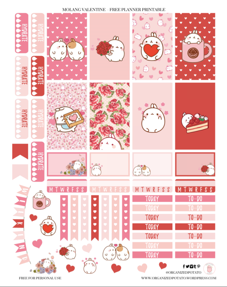 Molang Valentine - Free Planner Printable for Classic Happy Planner by Organized Potato #planner #printable #freeprintable #freeplannerprintable #erincondren #bujo #bulletjournal #plannerideas #bujoideas #bujoinspo #molang #kawaii #valentine #valentines #love #hearts #pink #red #bunny #floral #cute #filofax #foxyfix #travelersnotebook #DIYstickers #DIY #happyplanner #free #freebie