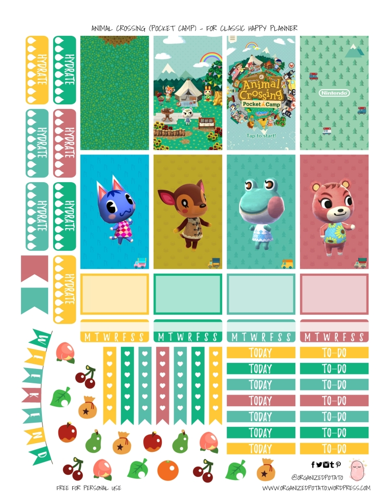 Animal Crossing Pocket Camp - Free Printable for Classic Happy Planner - #freeprintable #plannerprintable #plannerstickers #DIYstickers #organizedpotato #erincondren #happyplanner #printable #animalcrossing #pocketcamp #kawaii