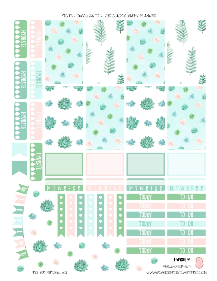 Pastel Succulents - Free Printable for Classic Happy Planner #printable #plannerprintable #freeprintable #printablestickers #plannerstickers #DIYstickers #happyplanner #erincondren #bujo #bulletjournal #organizedpotato #pastel #succulents #plants #aesthetic #aesthetics #pastelaesthetic #succulent #freebie
