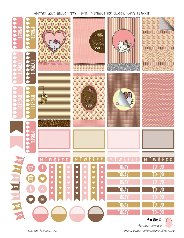 Vintage Gold Hello Kitty - Free Planner Printable for Classic Happ Planner - by Organized Potato #planner #happyplanner #DIY #DIYstickers #freeprintable #printable #plannerprintables #freeplannerprintables #hellokitty #vintage #gold #kawaii #pink #happyplanner #plannergirl #plannerideas #bujo #bujoinspo #bujostickers #bulletjournal #organizedpotato