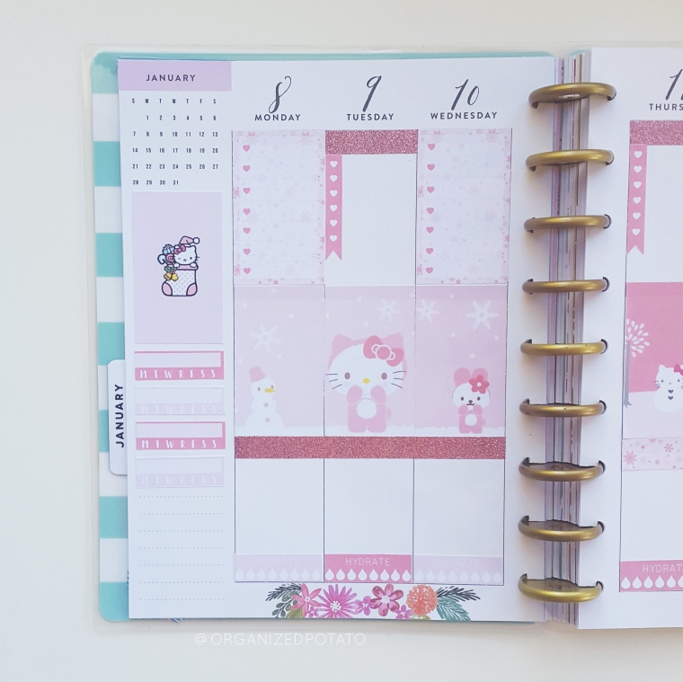 January Weekly Spread - #organizedpotato #weeklyspread #planner #happyplanner #printable #plannerprintable #freeprintable #freeplannerprintable #hellokitty #kawaii #pink #glitter #winter #erincondren #bujo #bulletjournal #travelersnotebook #bujoideas #bujoinspo