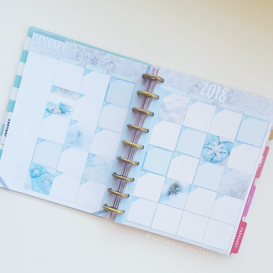 January 2018 Monthly Spread - #organizedpotato #monthlyspread #planner #happyplanner #erincondren #bujo #bulletjournal #travelersnotebook #stickers #printable #plannerprintable #snow #snowflake #glitter #winter #snowy #snowfox