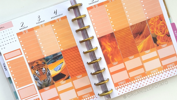 Orange Weekly Spread - #organizedpotato #weeklyspread #happyplanner #mambi #erincondren #bujo #bulletjournal #DIY #stickers #printable #plannerprintable #filofax #websterspages #travelersnotebook #moodboard #orangeaesthetic #tiger #fire #lambo #lamborghini #roses
