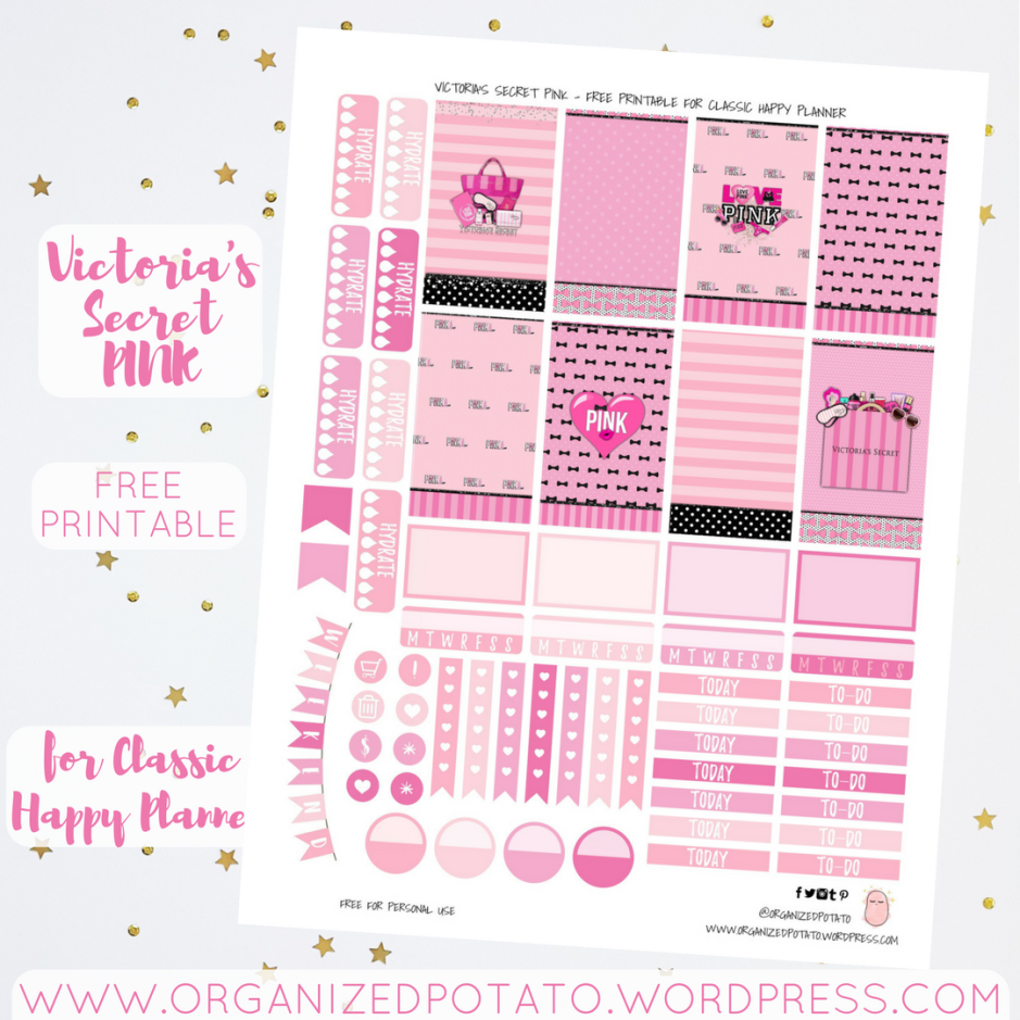 Victoria's Secret Pink - Free Planner Printable for Classic Happy Planner #freeprintable #organizedpotato #victoriassecret #PINK #VSPINK #plannerprintable #bujo #bulletjournal #bujoideas #bujoprintable #DIY #stickers #travelersnotebook #freeplannerprintable #freeprintables #printables #plannerprintables