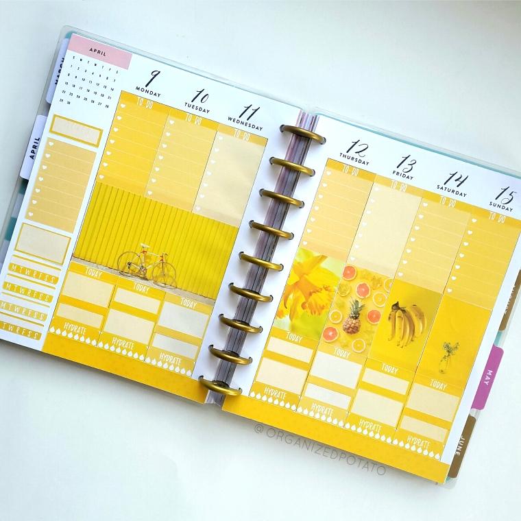 Yellow Weekly Spread - #organizedpotato #weeklyspread #happyplanner #mambi #erincondren #bujo #bulletjournal #DIY #stickers #printable #plannerprintable #filofax #websterspages #travelersnotebook #moodboard #yellowaesthetic #pineapple #bananas #bicycle #daffodil #flowers #sunshine #happiness #happy #bici
