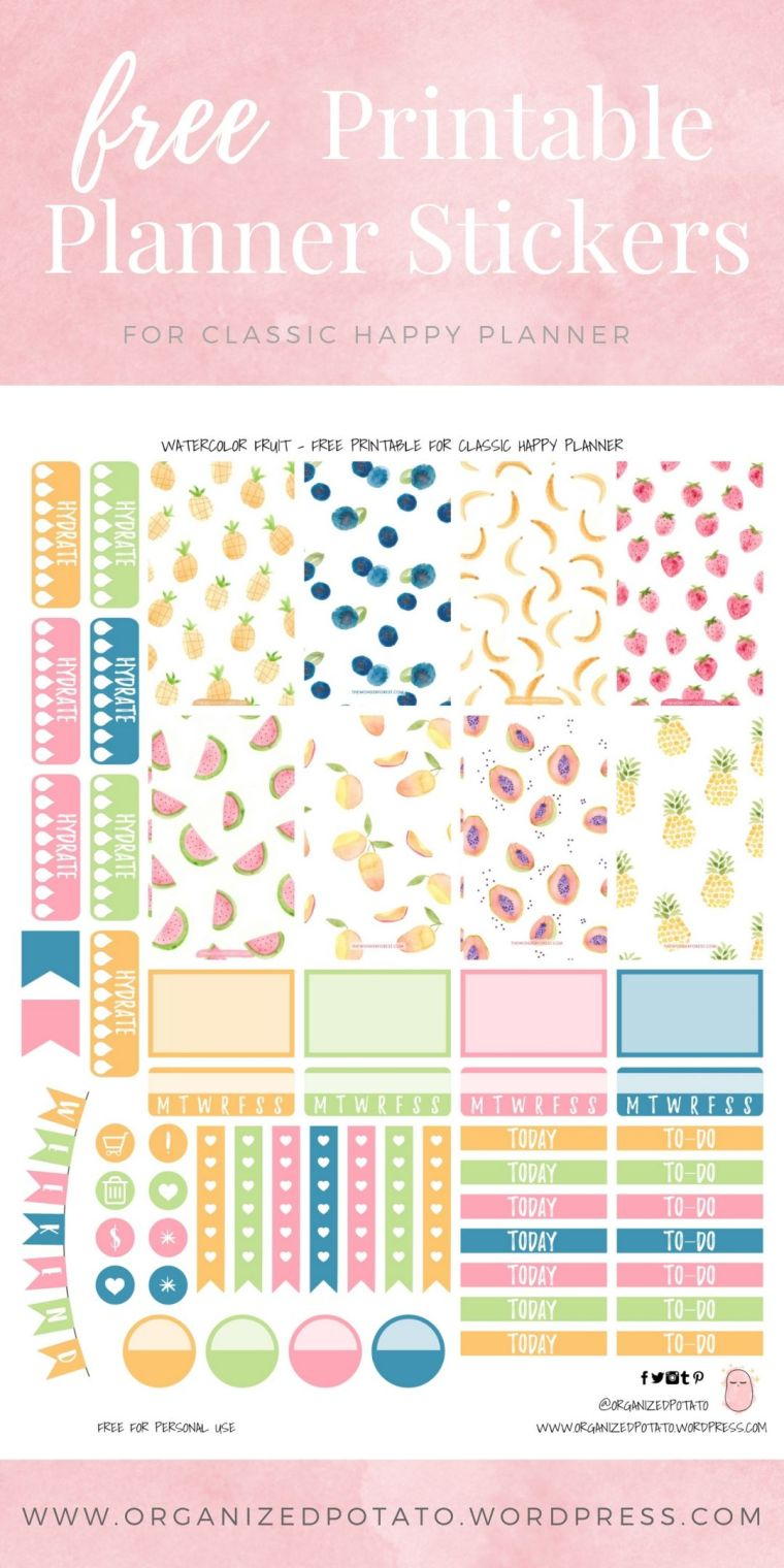 Free Printable Planner Stickers for Classic Happy Planner by Organized Potato - For use in Happy Planner, Erin Condren, Bullet Journal, scrapbooking, and other paper crafts. Great free DIY stationery craft! These summery stickers include pictures of tropical and sweet fruits like pineapples, blueberries, bananas, strawberries, watermelon, papaya, and mango! Perfect for summer DIY stationery projects!