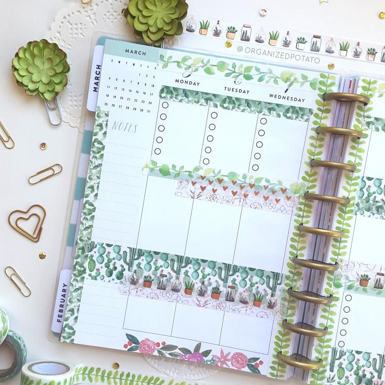 March Weekly Spread - #planner #happyplanner #weeklyspread #erincondren #bujo #bulletjournal #bujoideas #filofax #organizedpotato #travelersnotebook #DIY #stickers #washi #washitape #plants #cactus #cacti #succulent #succulents #pink #green