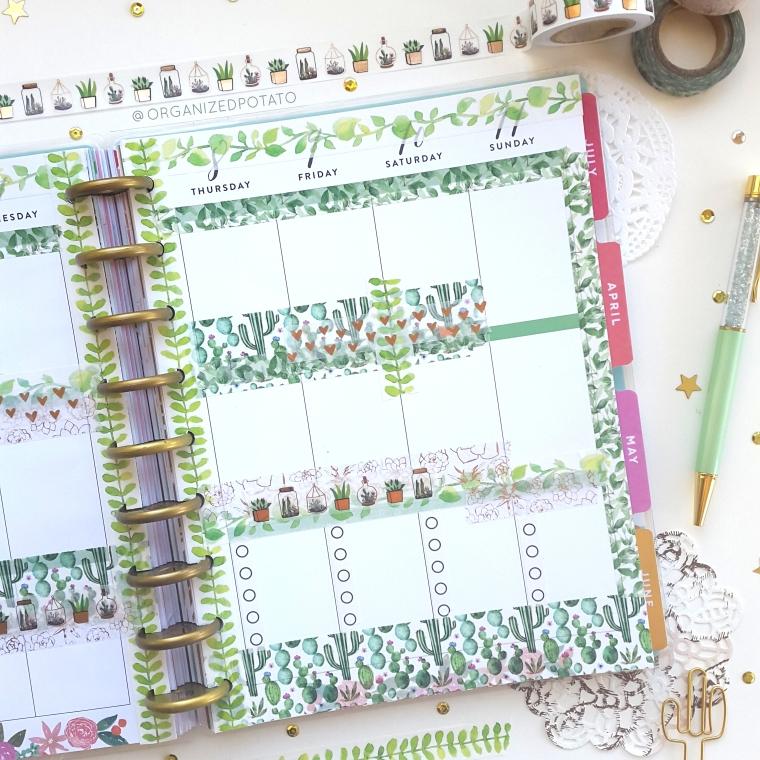 March Weekly Spread - #planner #happyplanner #weeklyspread #erincondren #bujo #bulletjournal #bujoideas #filofax #organizedpotato #travelersnotebook #DIY #stickers #washi #washitape #plants #cactus #cacti #succulent #succulents #pink #green #pengems