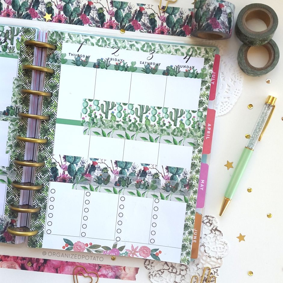 March Weekly Spread - #planner #happyplanner #weeklyspread #erincondren #bujo #bulletjournal #bujoideas #filofax #organizedpotato #travelersnotebook #DIY #stickers #washi #washitape #plants #cactus #cacti #succulent #succulents #pink #green #pengems