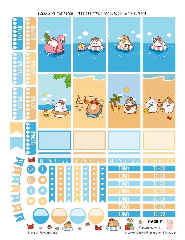 Molang at the Beach - Free Printable by OrganizedPotato | #freeprintable #printable #happyplanner #planner #plannerprintables #freeplannerprintables #molang #kawaii #beach #ocean #rabbit #bunny #erincondren #bujo #bulletjournal #plannerinspo #plannerideas #ontheblog