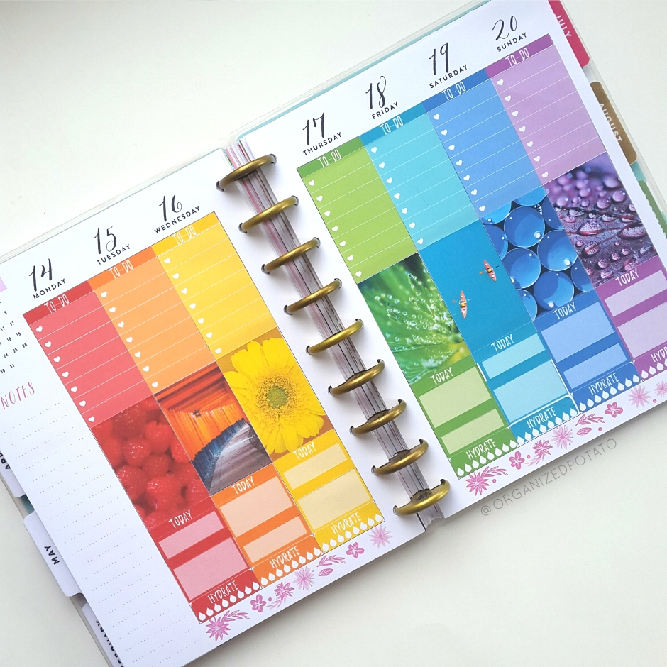May Weekly Spread - #planner #happyplanner #weeklyspread #erincondren #bujo #bulletjournal #bujoideas #filofax #organizedpotato #travelersnotebook #DIY #stickers #printable #plannerprintables #flowers #rainbow #colorful #roygbiv