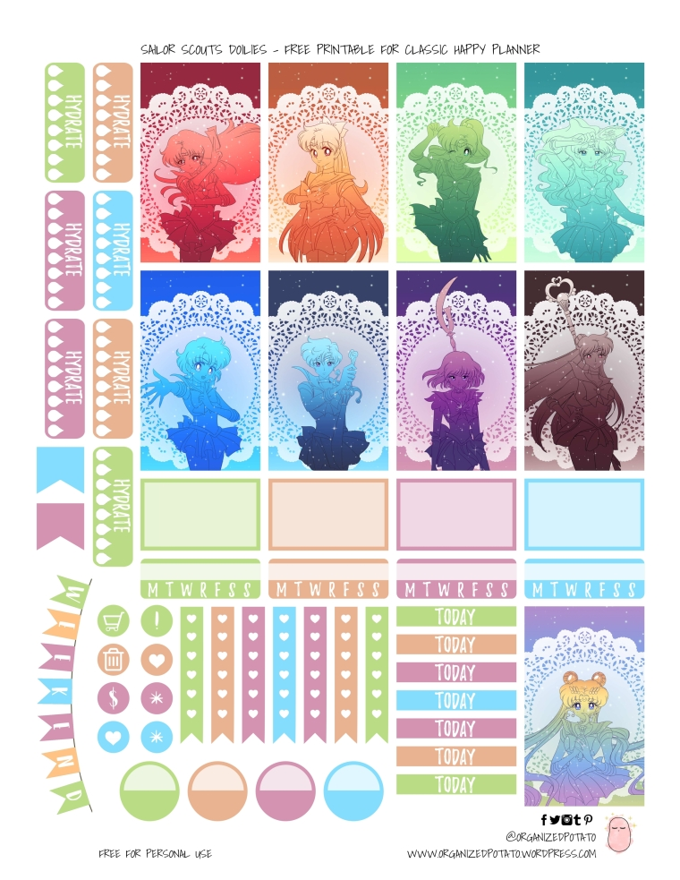 Sailor Scout Doilies - Free Printable for HPC by Organized Potato | #planner #printable #plannerprintable #organizedpotato #sailormoon #galaxy #bishoujosenshi #sailorscouts #innersenshi #outtersenshi #freeprintable #freeplannerprintable #happyplanner #erincondren #bujo #bulletjournal #doilies