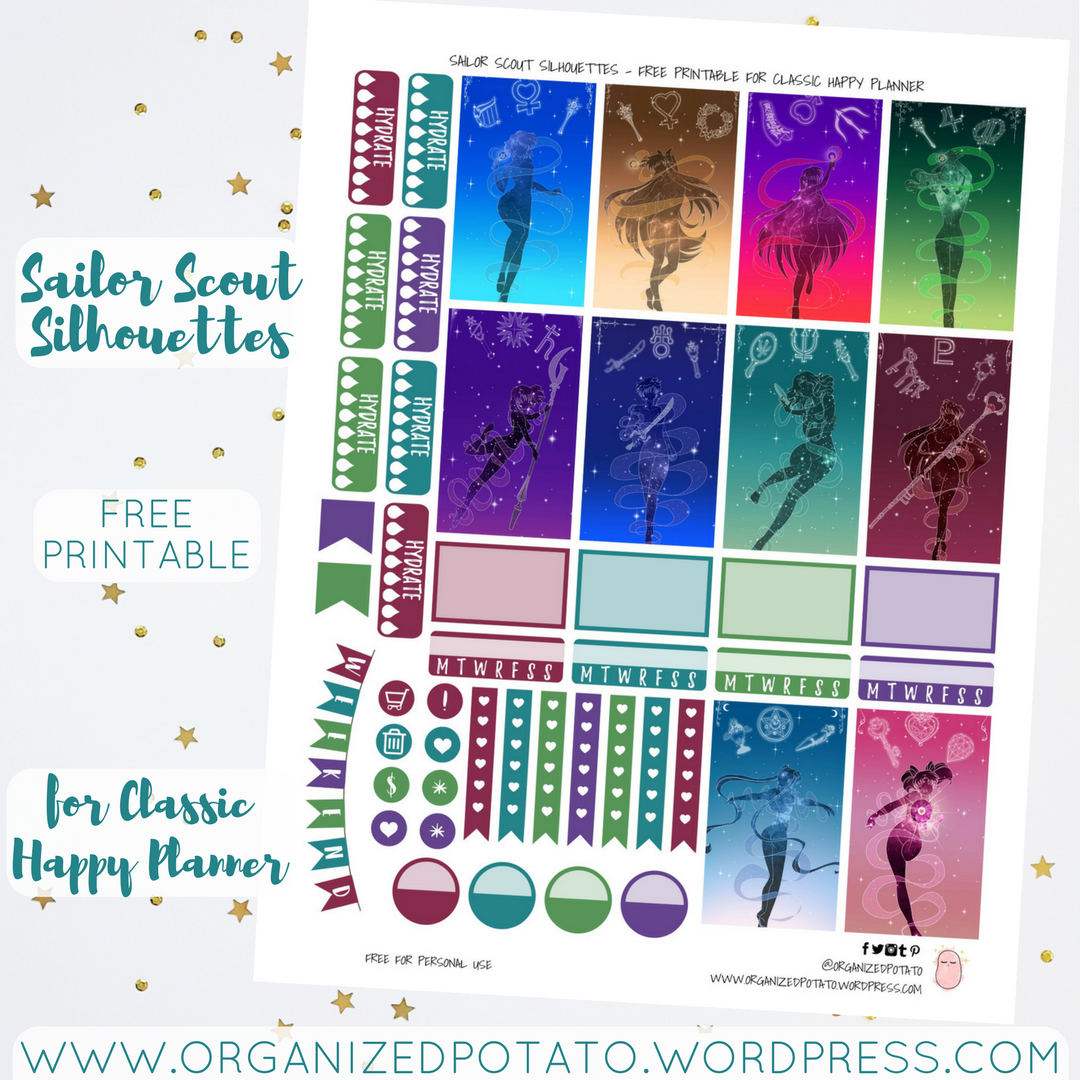 photograph about Free Printable Silhouettes named Totally free Planner Printable: Sailor Scout Silhouettes Ready