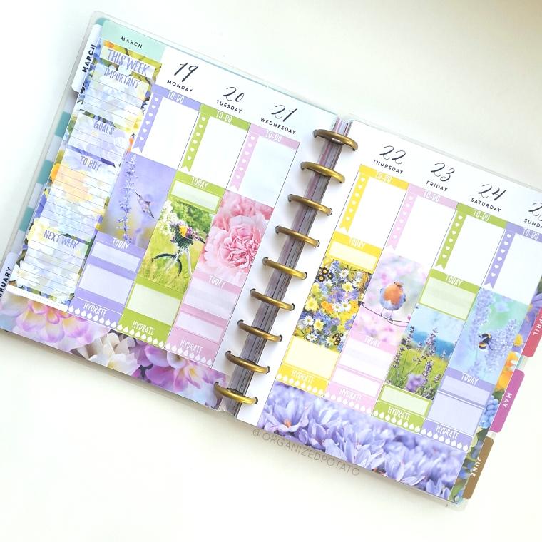 March Weekly Spread - #planner #happyplanner #weeklyspread #erincondren #bujo #bulletjournal #bujoideas #filofax #organizedpotato #travelersnotebook #DIY #stickers #printable #plannerprintables #spring #hellospring #flowers #floral #peonies #roses #hummingbird #bicycle #honeybee #springflowers #pastel #pastelcolors
