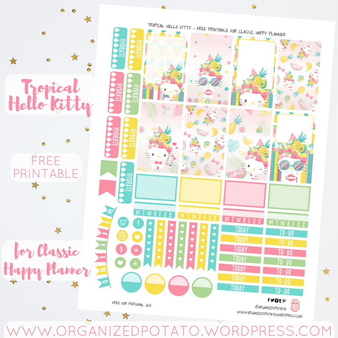 graphic regarding Happy Planner Free Printable Stickers identified as Cost-free Planner Printable: Tropical Hello there Kitty Ready Potato