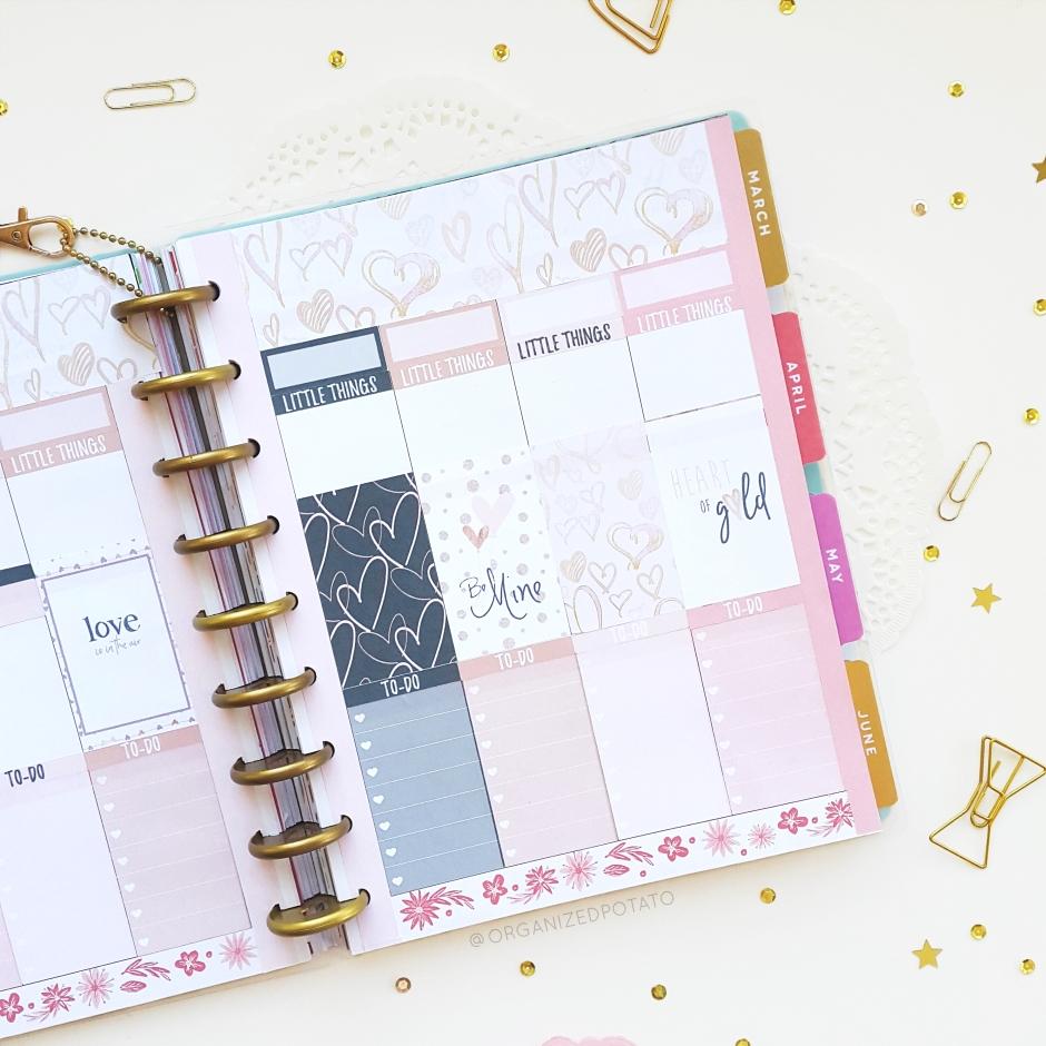 February Weekly Spread - #planner #happyplanner #weeklyspread #erincondren #bujo #bulletjournal #bujoideas #filofax #organizedpotato #printable #plannerprintable #travelersnotebook #DIY #stickers #pink #valentine #valentinesday #love #lovenstuff #hearts #navyblue #rosegold