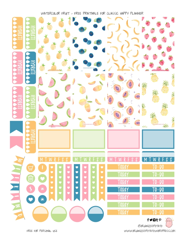 Watercolor Fruit - Free Printable for Classic Happy Planner - by Organized Potato #planner #plannerprintable #freeprintable #printable #fruit #fruits #fruity #summer #bananas #strawberries #pineapples #watermelon #blueberries #erincondren #bujo #bulletjournal #travelersnotebook #organizedpotato