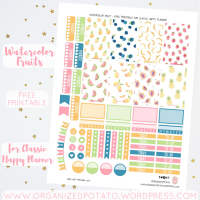 Free Planner Printable: Watercolor Fruit