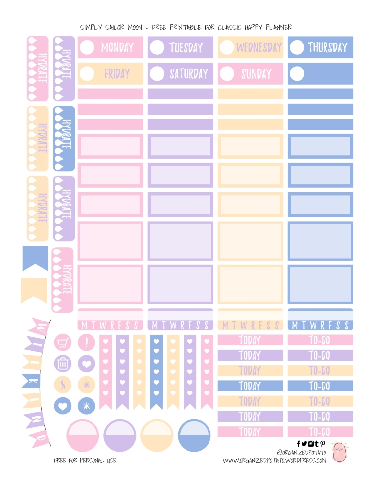 Simply Sailor Moon - Free Printable for Classic Happy Planner by OrganizedPotato | #plannerprintables #freeprintables #organizedpotato #sailormoon #happyplanner #plannerideas #bujo #bujoideas #bulletjournal #bishoujosenshi #freeplannerprintable #erincondren #DIY #ontheblog #girlboss