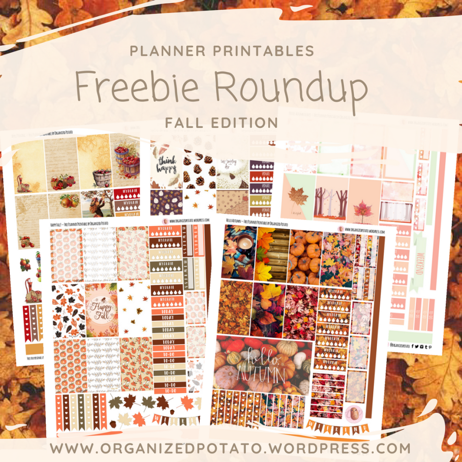Planner Printables Freebie Roundup - Fall Edition: The BEST free fall printables for your planner by Organized Potato! #freeprintables #plannerprintables #fallprintables #fall #autumn #fallleaves #pumpkins #leaves #applepicking #foxes #happyplanner #erincondren #organizedpotato #bujo #bujoideas #bulletjournal #planner #printables