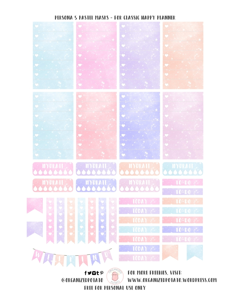 Persona 5 Pastel Masks - Free Planner Printable for Classic Happy Planner by Organized Potato | #printables #plannerprintables #organizedpotato #happyplanner #planner #freeprintables #freeplannerprintables #persona5 #pastelcolors #pastelaesthetic #aesthetic #kawaii #erincondren #bujo #bulletjournalideas #bujoideas #plannerstickers #DIY #masquerade #masks #halloween