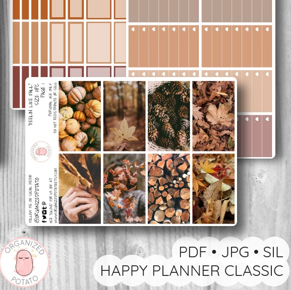 """Feelin Like Fall"" - Deluxe Planner Printable for Classic Happy Planner by Organized Potato - #printables #plannerprintables #fall #autumn #coffee #aesthetic #moodboard #bujo #bulletjournal #pumpkin #pinecones #happyplanner #erincondren"
