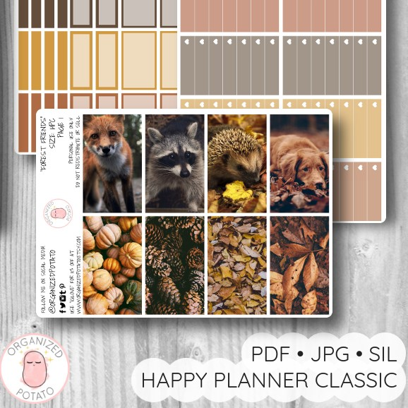 """Forest Friends"" - Deluxe Planner Printable for Classic Happy Planner by Organized Potato - #printables #plannerprintables #fall #autumn #coffee #aesthetic #moodboard #bujo #bulletjournal #pumpkin #fox #foxes #raccoon #hedgehog #dog #dogs #puppy #doggo #happyplanner #erincondren"