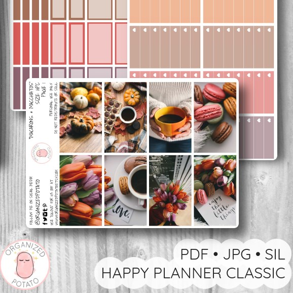 """Macarons and Macchiatos"" - Deluxe Planner Printable for Classic Happy Planner by Organized Potato - #printables #plannerprintables #fall #autumn #coffee #aesthetic #moodboard #bujo #bulletjournal #pumpkin #happyplanner #erincondren"