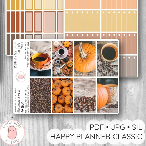 """Pumpkin Spice Latte"" - Deluxe Planner Printable for Classic Happy Planner by Organized Potato - #printables #plannerprintables #fall #autumn #coffee #aesthetic #moodboard #bujo #bulletjournal #pumpkin #latte #happyplanner #erincondren"