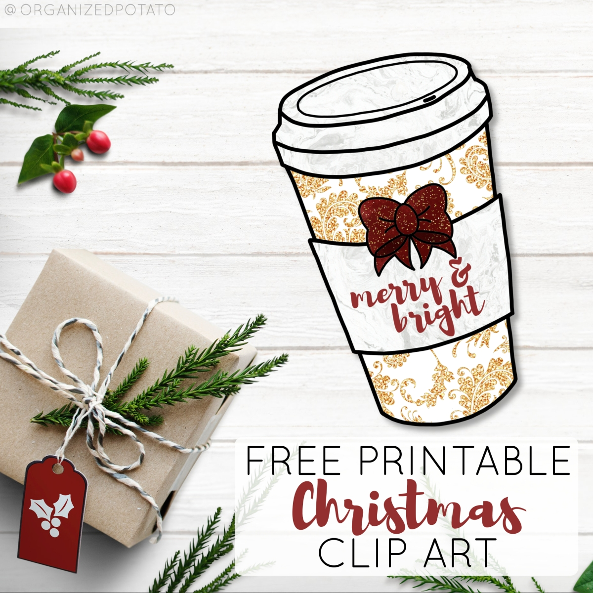 Merry and Bright Coffee Cup Clip Art and DIY Wall Art Freebie