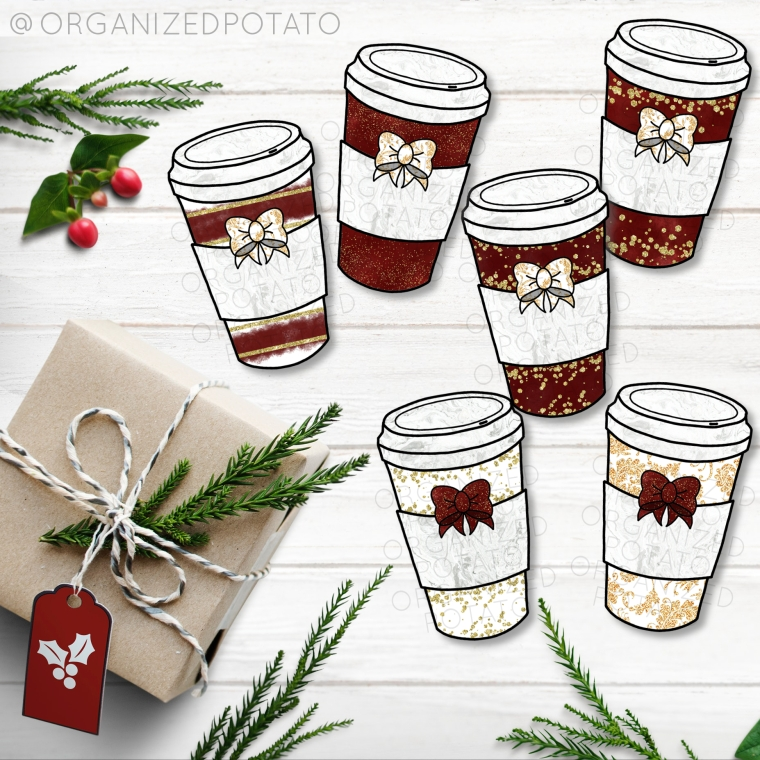 Red and Gold Glitter Coffee Cup Clip Art Bundle! This clip art is perfect for your holiday DIY projects! You can make fast and easy DIY wall art projects, DIY stickers, Christmas cards, gift tags, die cuts, digital paper, party invites, party decor, and more! What will you make?